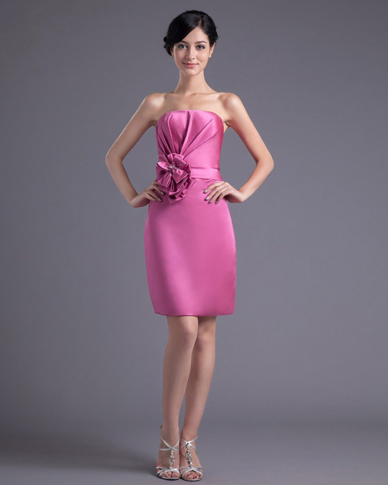 Fashion Satin Pleated Flower Strapless Thigh Length Bridesmaid Dress
