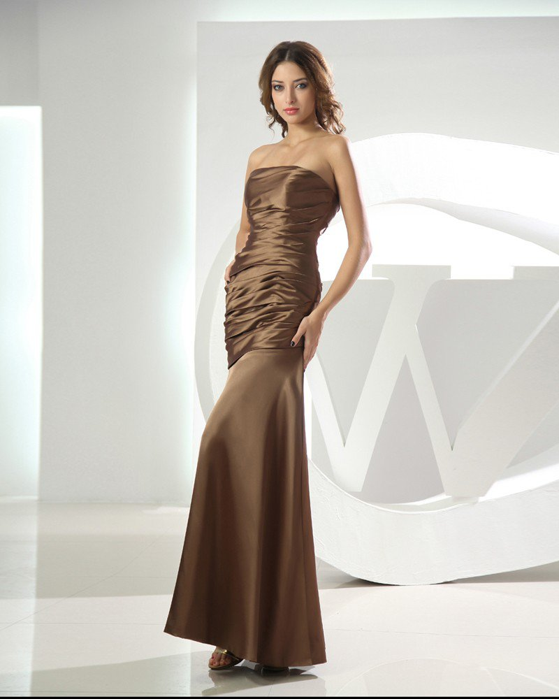 Strapless Sleeveless Zipper Pleated Ankle Length Satin Woman Bridesmaid Dress