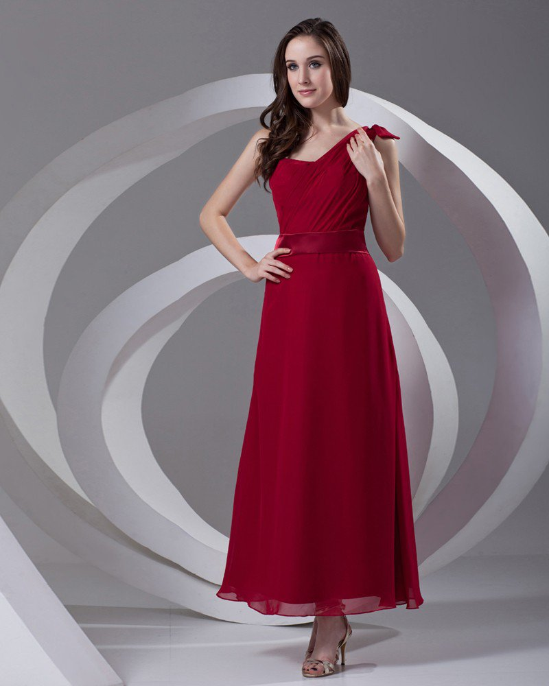 One Shoulder Pleated Ankle Length Chiffon Woman Bridesmaid Dress