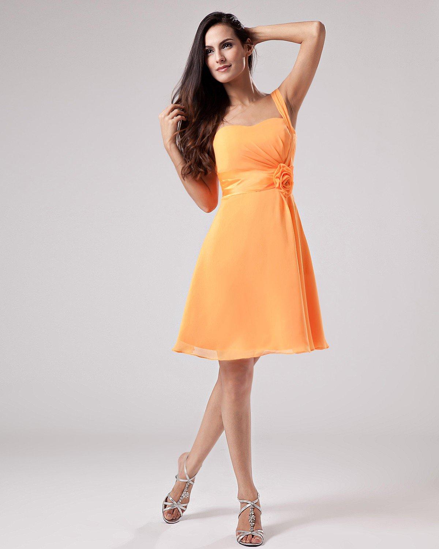 A-Line Spaghetti Straps Knee-Length Chiffon Bridesmaids Dresses