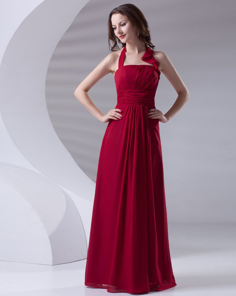 Fashion Halter Floor Length Ruffle Chiffon Bridesmaid Dress
