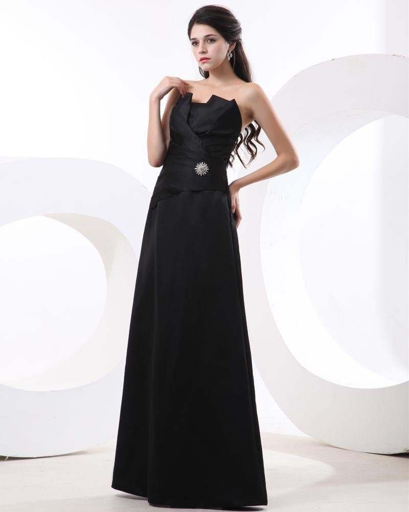 Satin Ruffle Sash Floor Length Bridesmaid Dress Gown