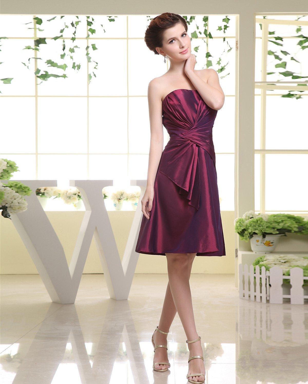 Strapless Ruffle Zipper Sleeveless Knee Length Taffeta Woman Bridesmaid Dresses