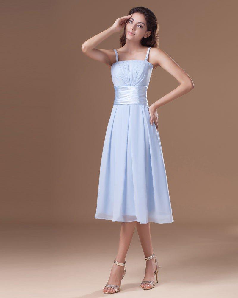 Chiffon Ruffle Spaghetti Straps Tea Length Bridesmaid Dress
