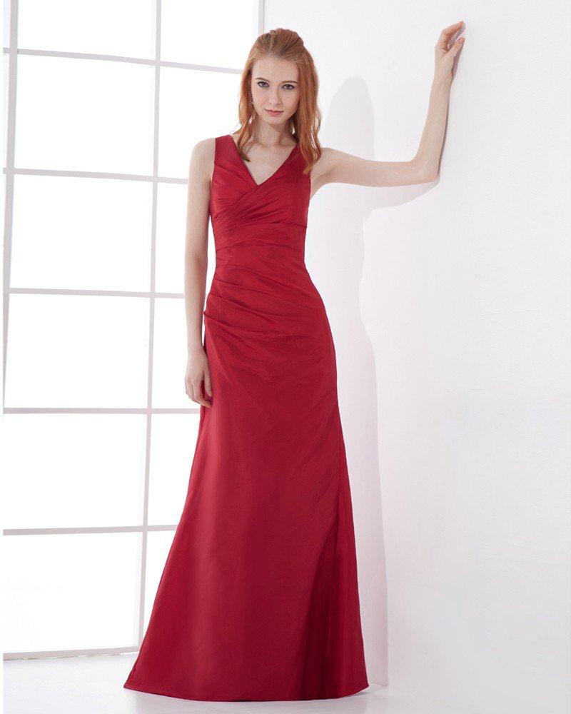 Fashion Taffeta Pleated V Neck Floor Length Bridesmaid Dress