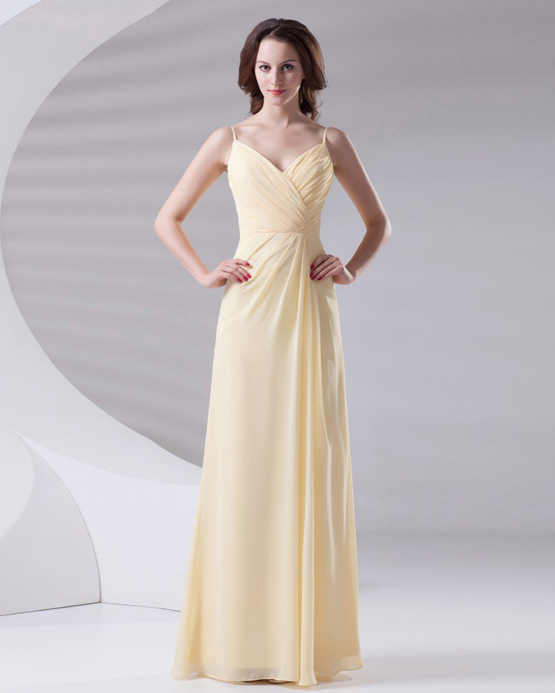Slim Ruffle Design Spaghetti Floor Length Chiffon Bridesmaid Dress