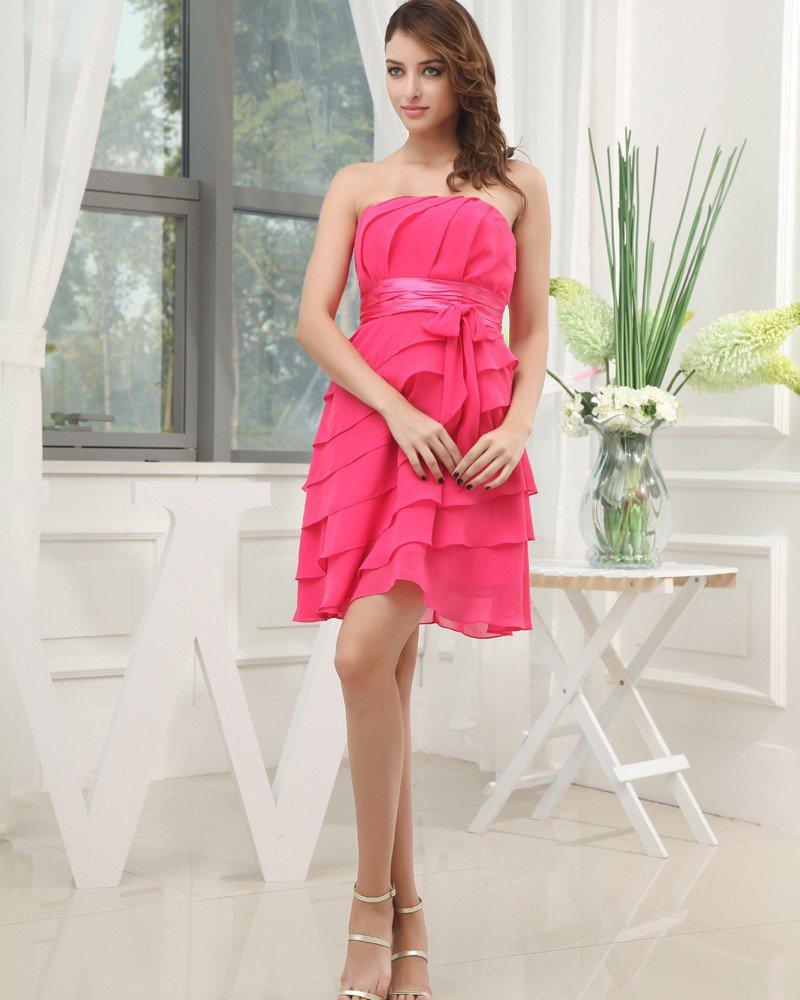 Strapless Neckline Knee Length Pleat Sashes Chiffon Empire Bridesmaid Dresses