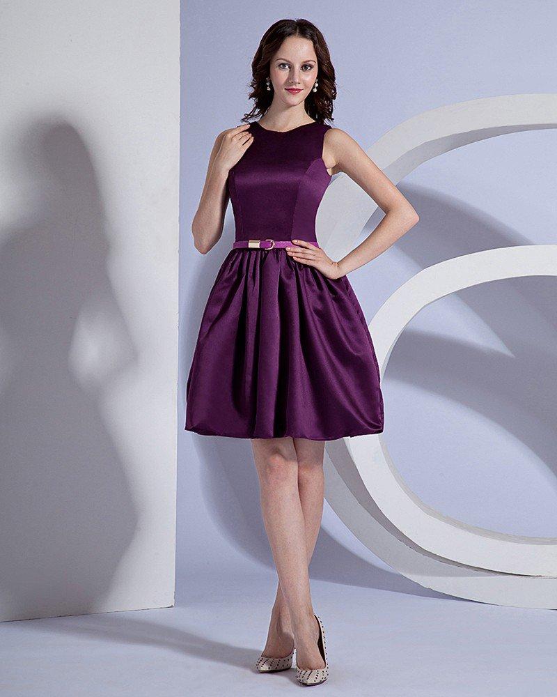 Taffeta Bateau Sleeveless Knee Length Bridesmaid Dress