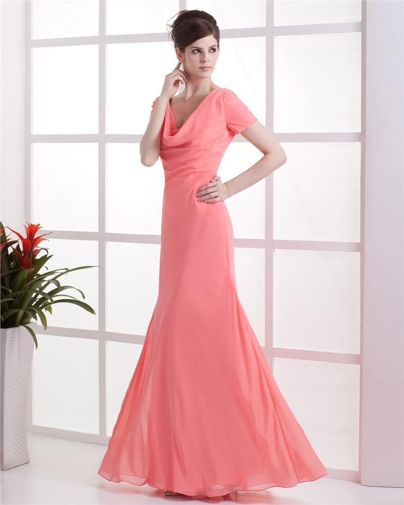 Chiffon V-neck Drape Workmanship Floor Length Bridesmaid Dresses