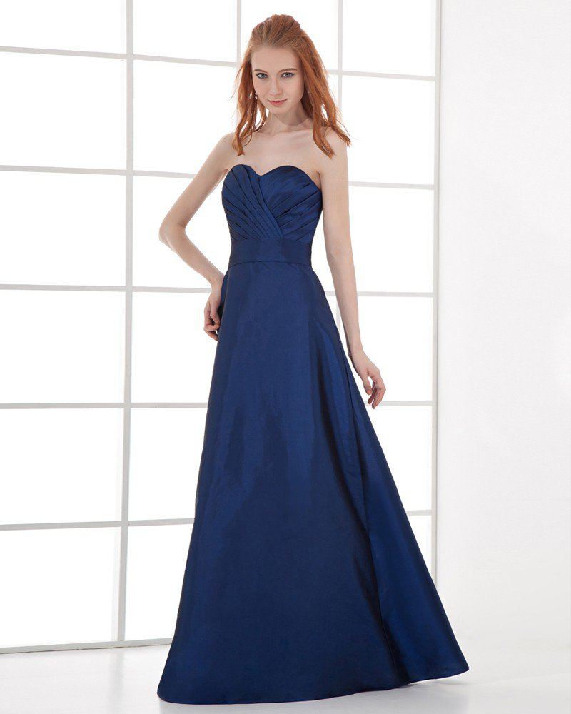 Fashion Taffeta Pleated Sweetheart Floor Length Bridesmaid Dress