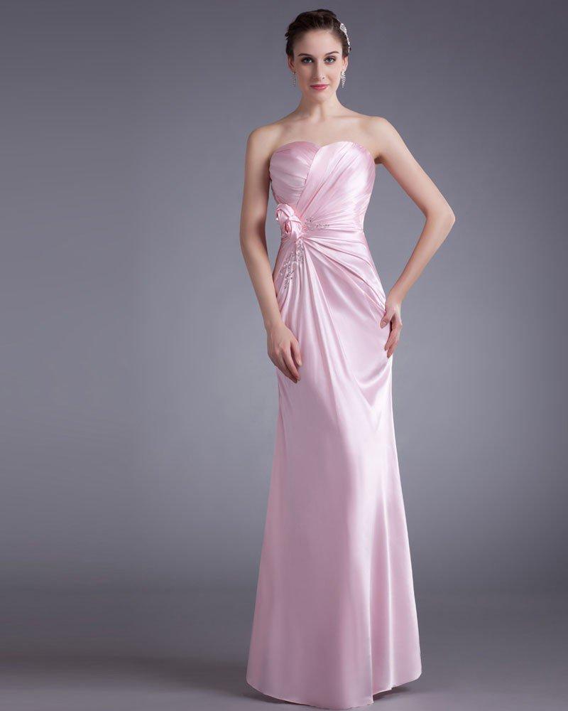 Elastic Silk Like Satin Ruffle Flower Sequins Sweetheart Floor Length Bridesmaid Dress