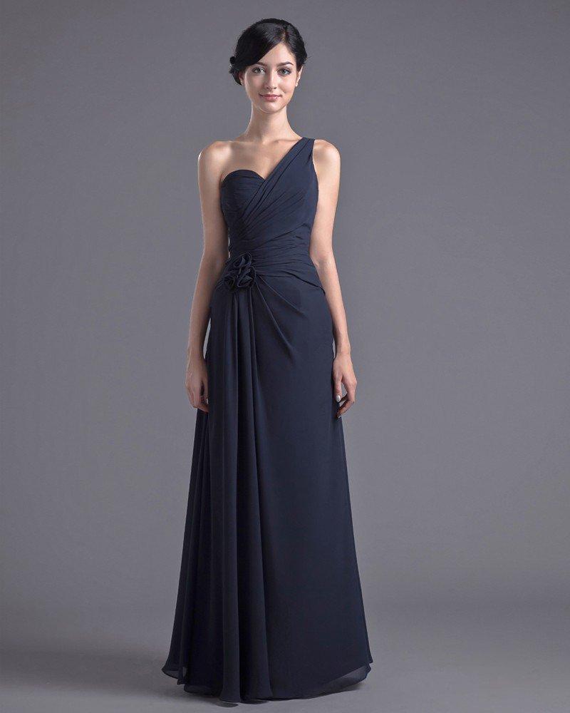 Fashion Chiffon Pleated Flower One Shoulder Floor Length Bridesmaid Dress