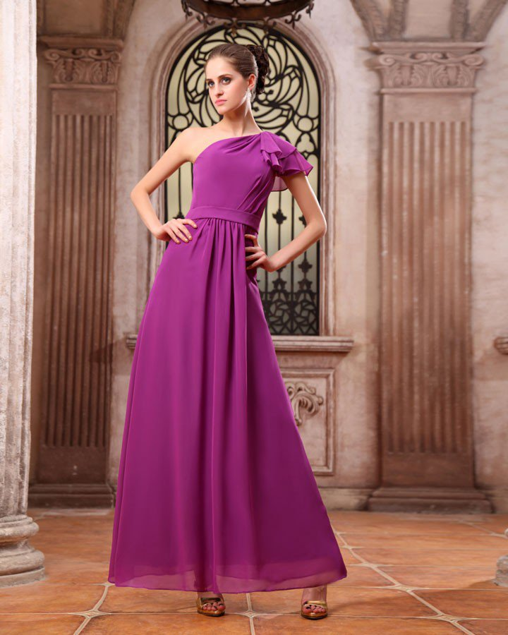 Modern Chiffon One Shoulder Floor Length Bridesmaid Dresses