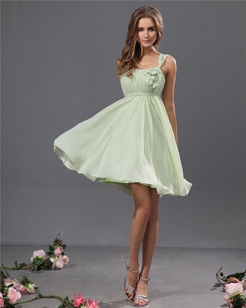 A-Line Sleeveless Scoop Knee Length Chiffon Satin Bridesmaid Dress
