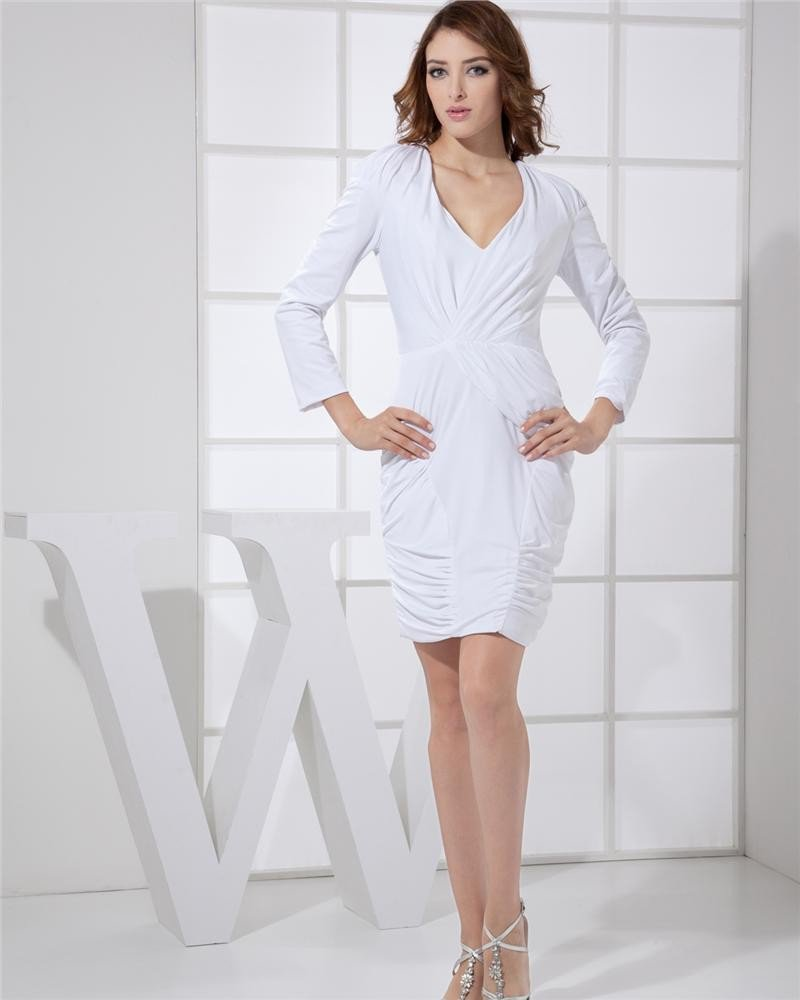 Long Sleeve V Neck Thigh Length Pleat Spandex Woman Bridesmaids Dresses