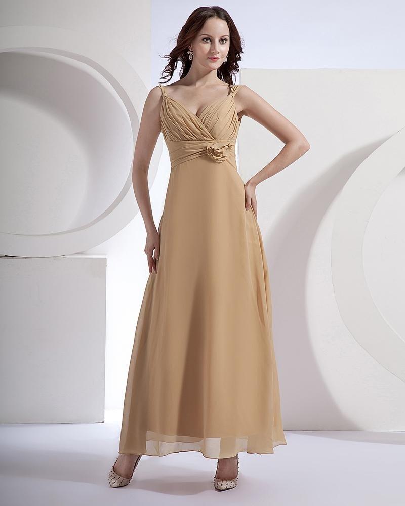 Chiffon Ruffle V-Neck Floor Length Bridesmaid Dresses