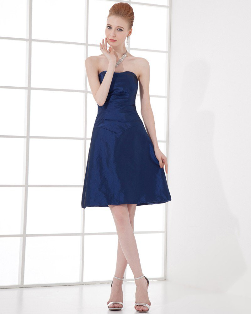 Fashion Taffeta Pleated Sweetheart Thigh Length Bridesmaid Dress
