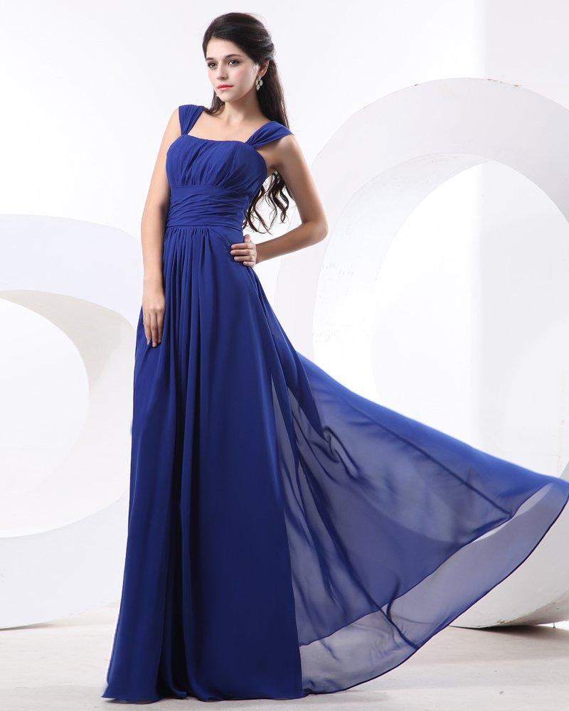 Chiffon Ruffle Shoulder Straps Floor Length Bridesmaid Dress Gown