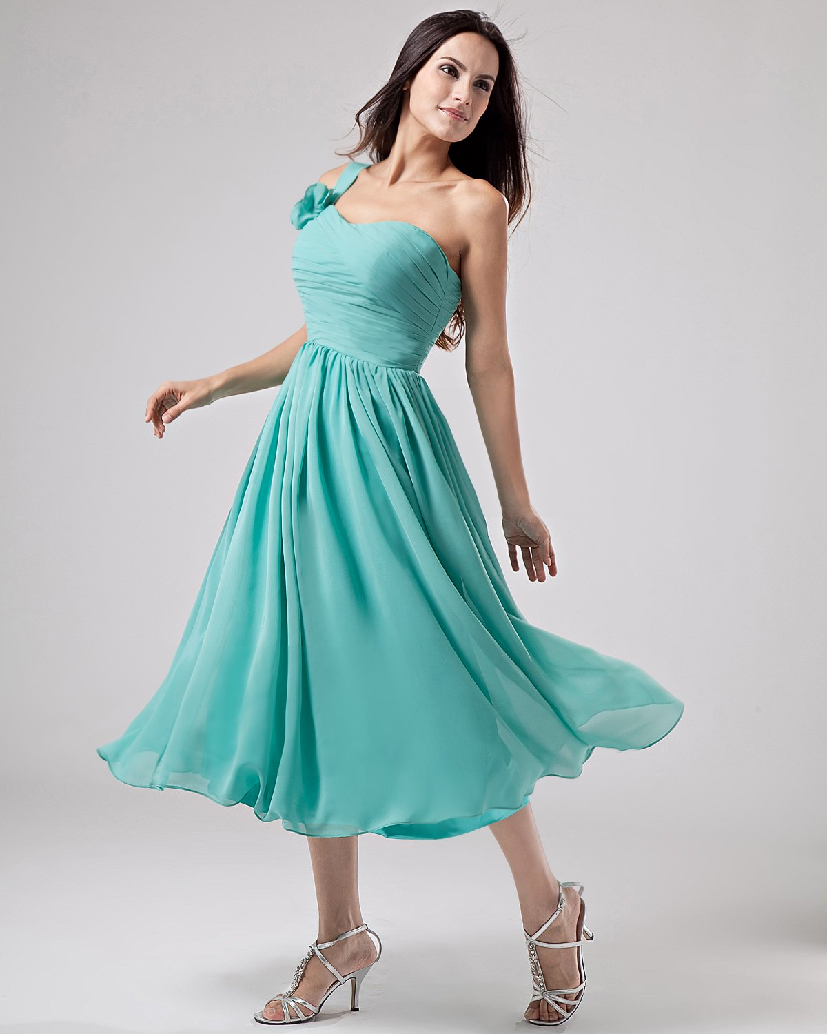 Empire One Shoulder Chiffon Bridesmaid Dress