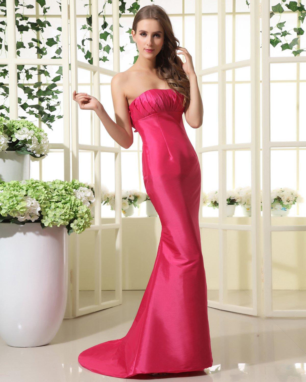 Empire Strapless Floor Length Taffeta Bridesmaid Dress