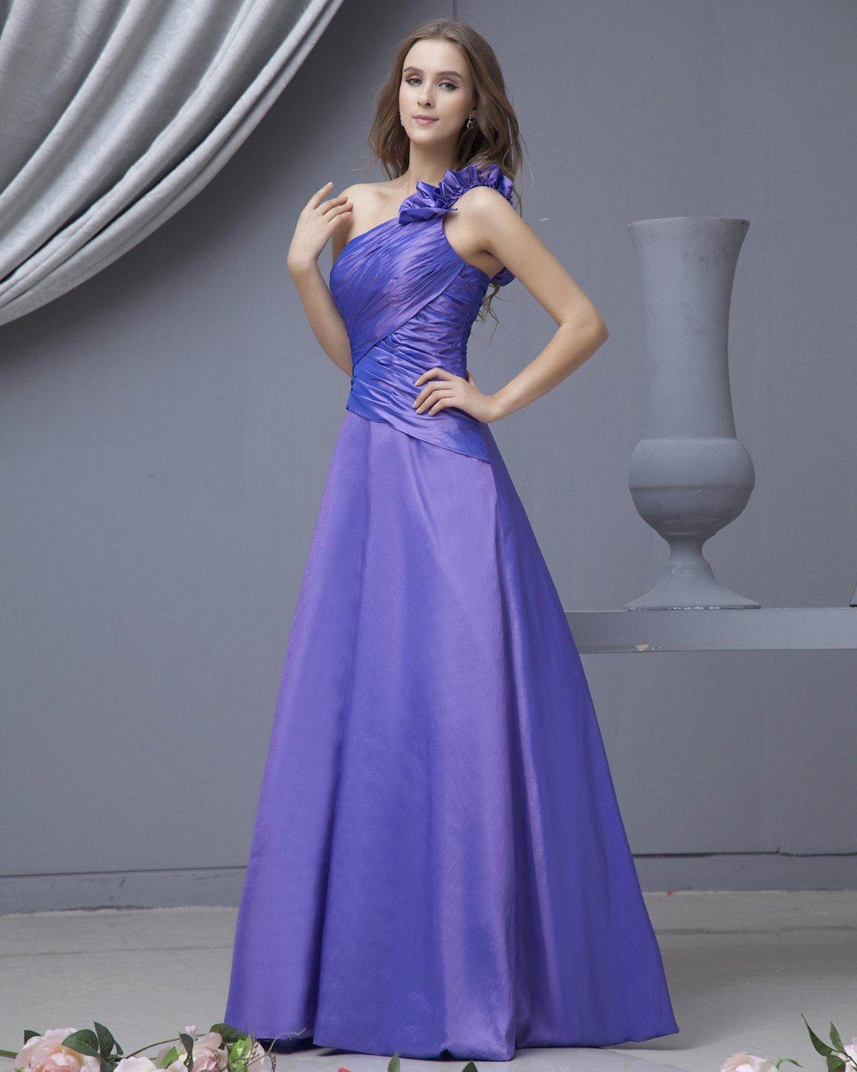 Fashion Taffeta One Shoulder Floor Length Bridesmaid Dresses