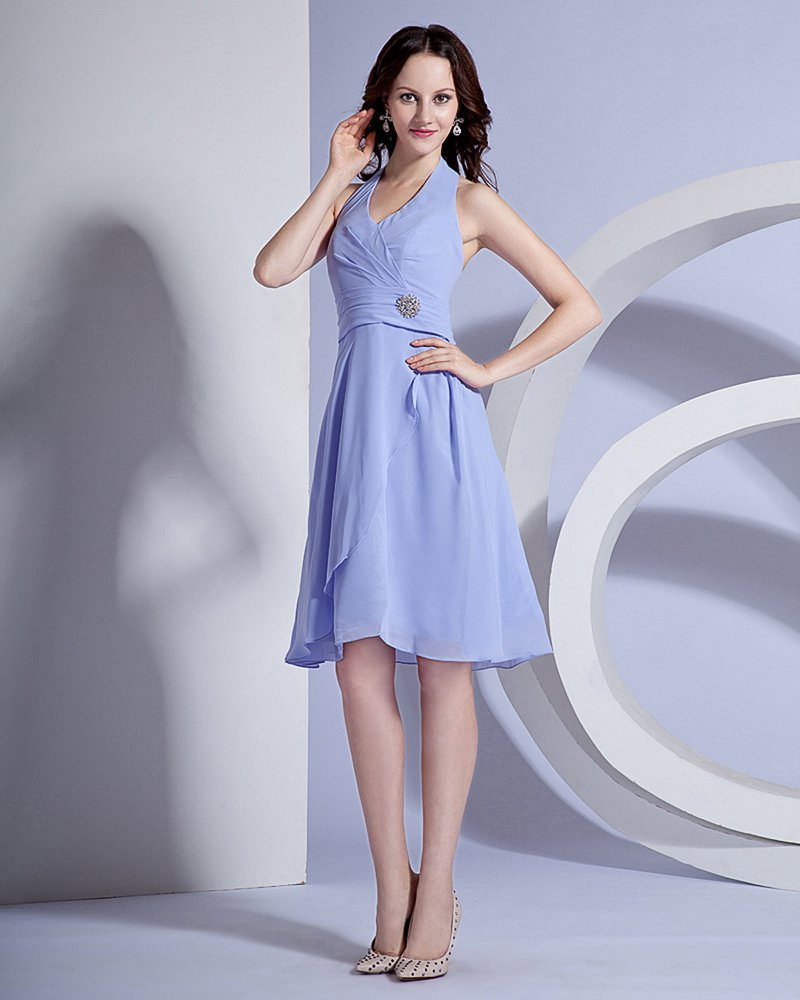 Ruffle Halter Knee Length Chiffon Bridesmaid Dress Gown
