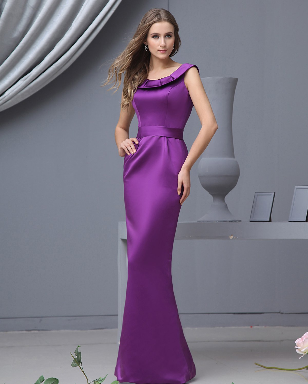 Satin Ruffle Round Neck Floor Length Bridesmaid Dresses