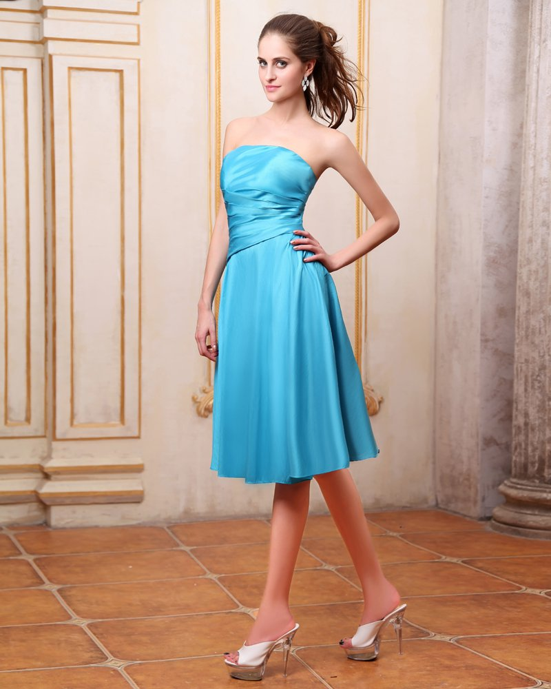 Taffeta Pleated Knee Length Bridesmaid Dresses