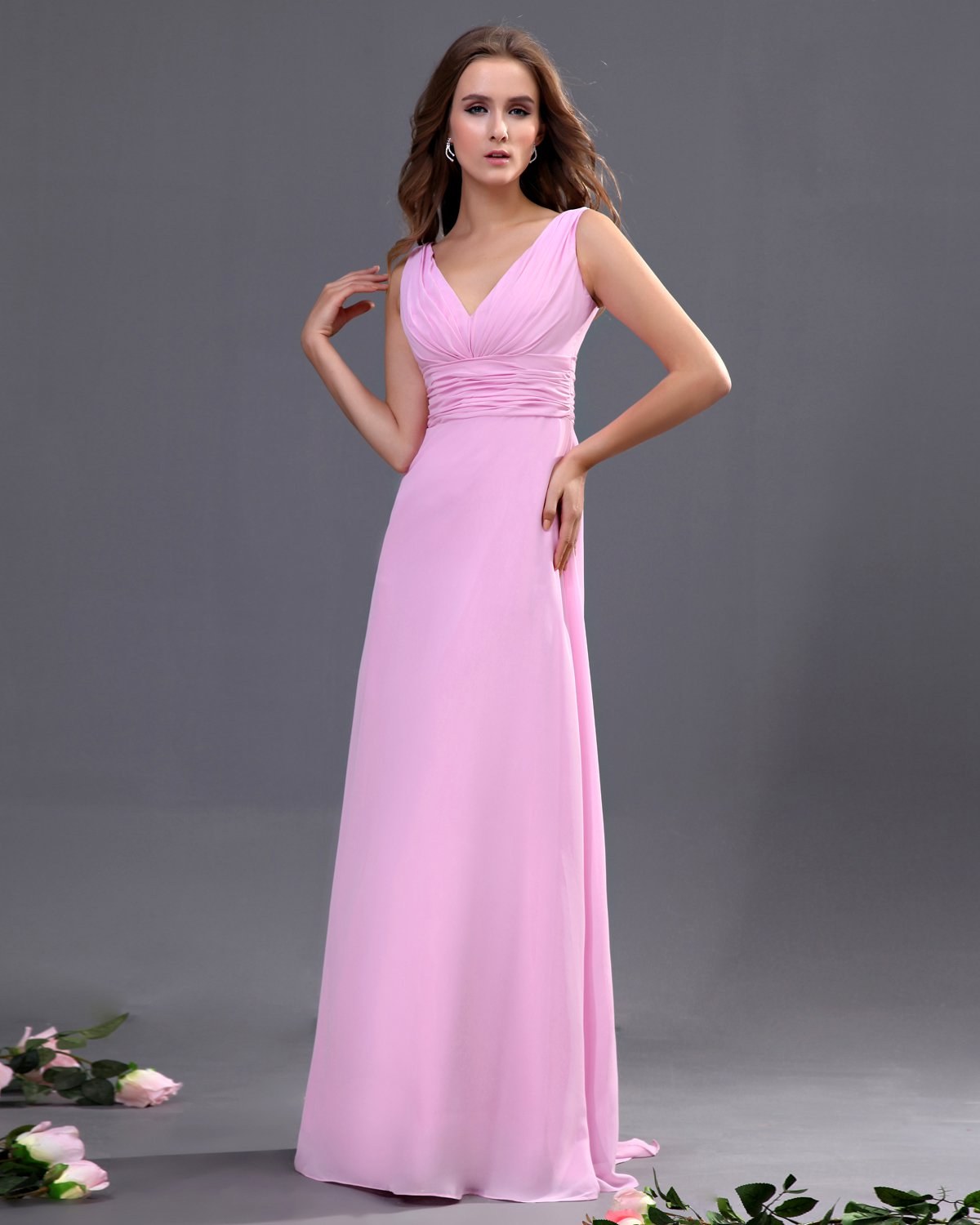V-neck Sash Floor Length Bridesmaid Dress Gown