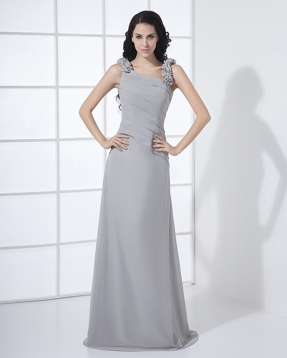 Floor Length Sabrina Neckline Flowers Pleated Chiffon Woman Bridesmaid Dress