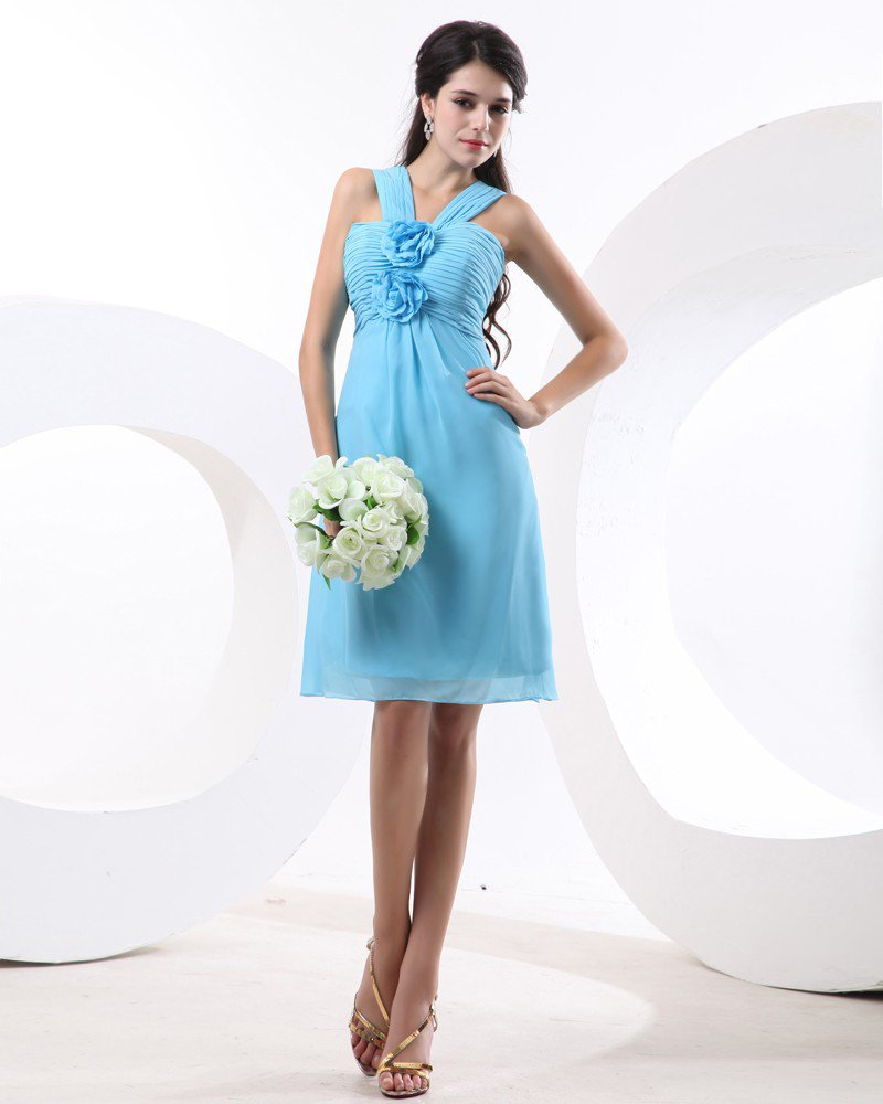 Beautiful Spaghetti Straps Empire Knee Length Chiffon Women's Bridesmaid Dresses