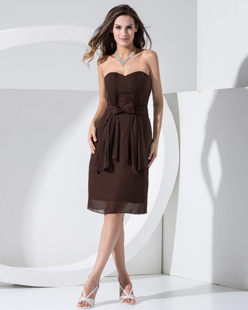 Strapless Neckline Sleeveless Thigh Length Bowknot Pleated Chiffon Woman Bridesmaids Dresses