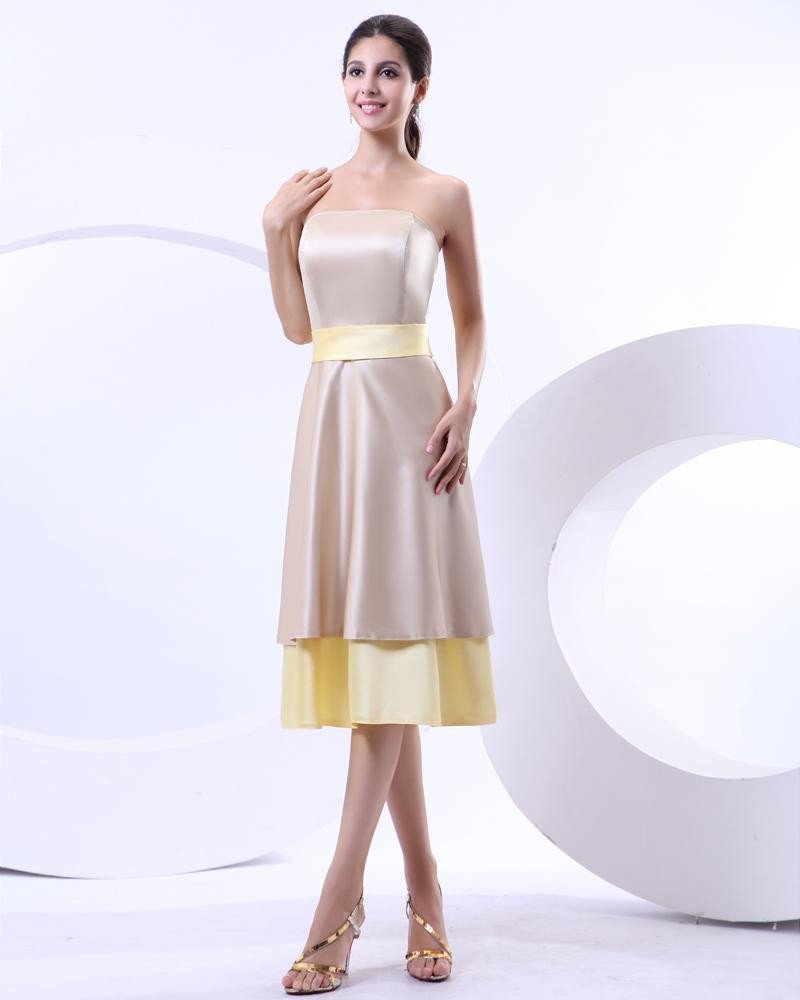 Strapless Double Layerd Tea-Length Taffeta Bridesmaids Dresses
