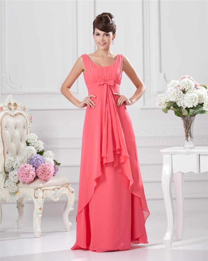 Floor Length Round Collar Ruffles Pleated Chiffon Bridesmaid Dress