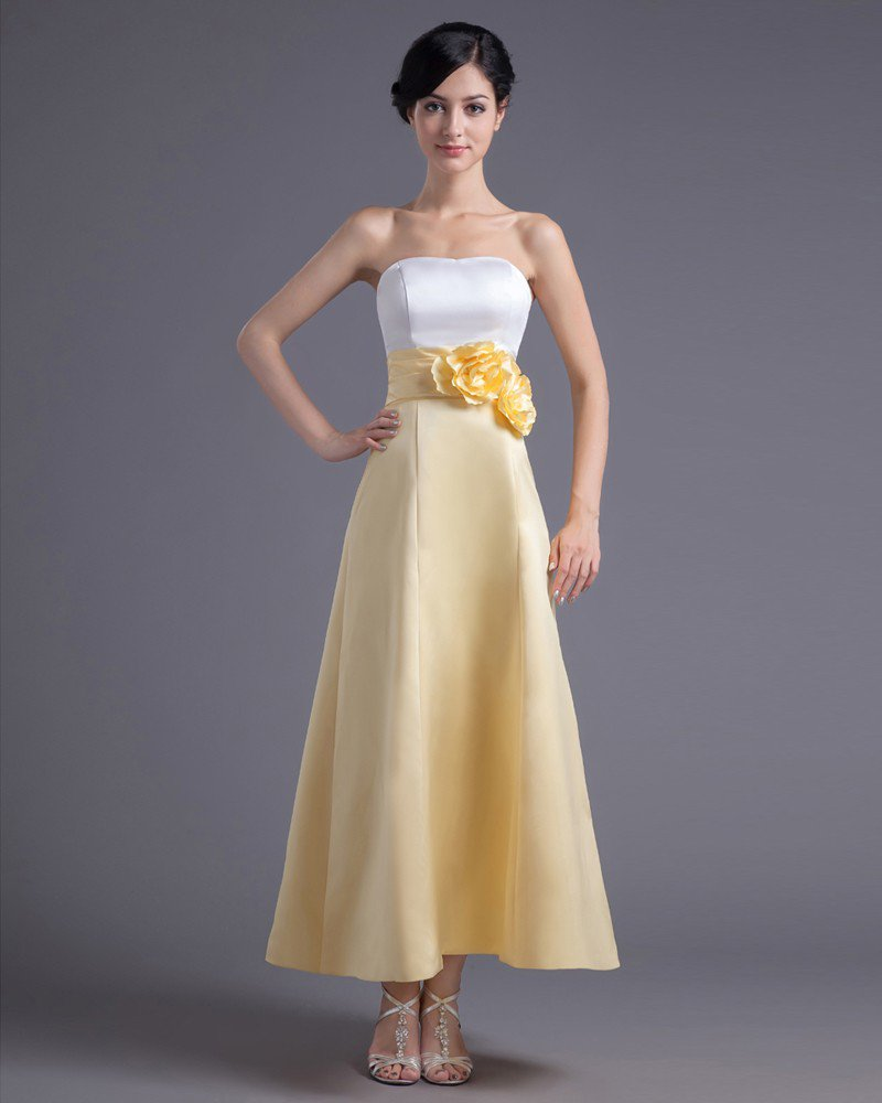 Fashion Flower Strapless Ankle Length Satin Bridesmaid Dress