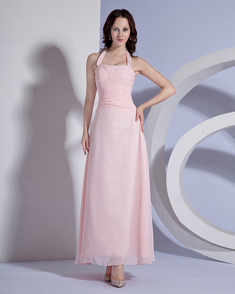 Solid Pleated Chiffon Halter Floor Length Bridesmaid Dresses