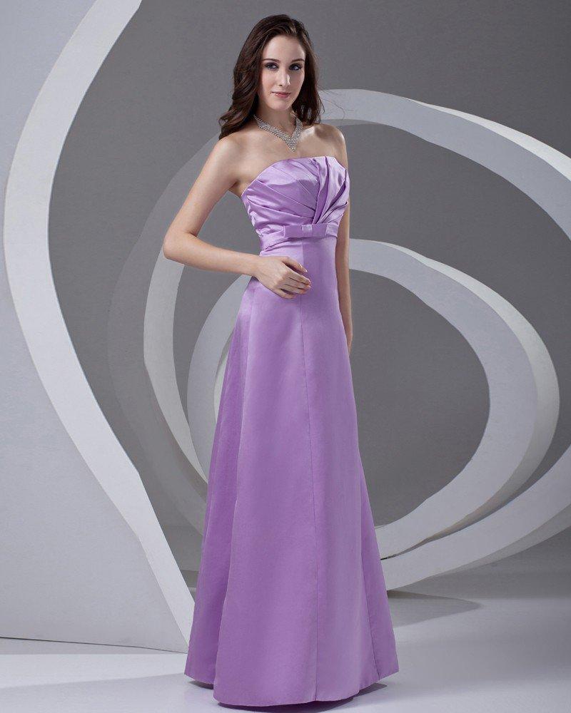 Strapless Pleated Floor Length Satin Woman Bridesmaid Dress