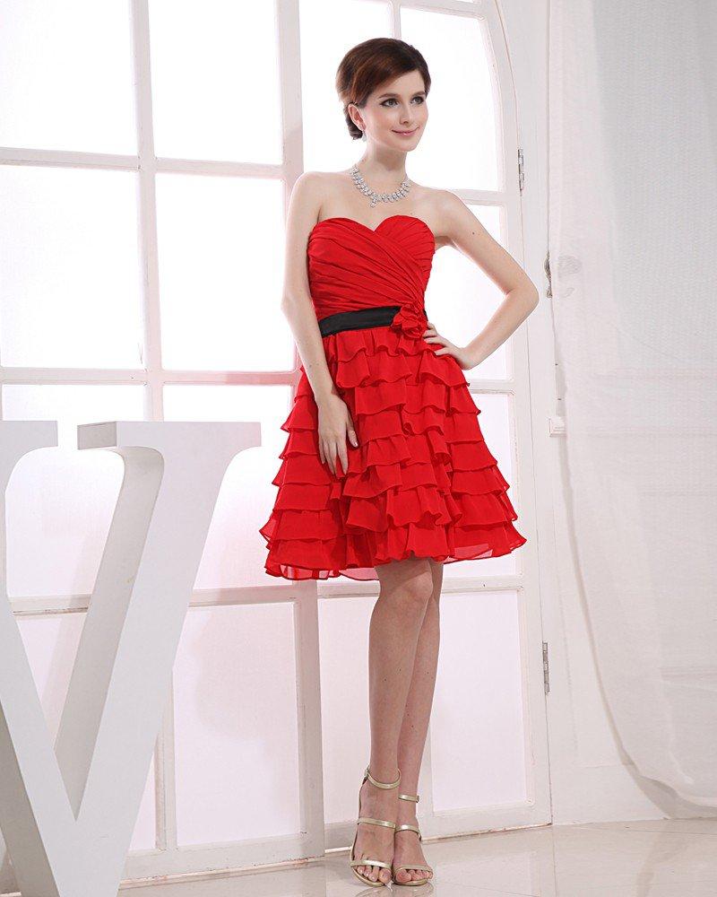 Chiffon Silk Satin Sweetheart Ruffle Sleeveless Backless Zipper Ankle Length Tiered Bridesmaid Dress
