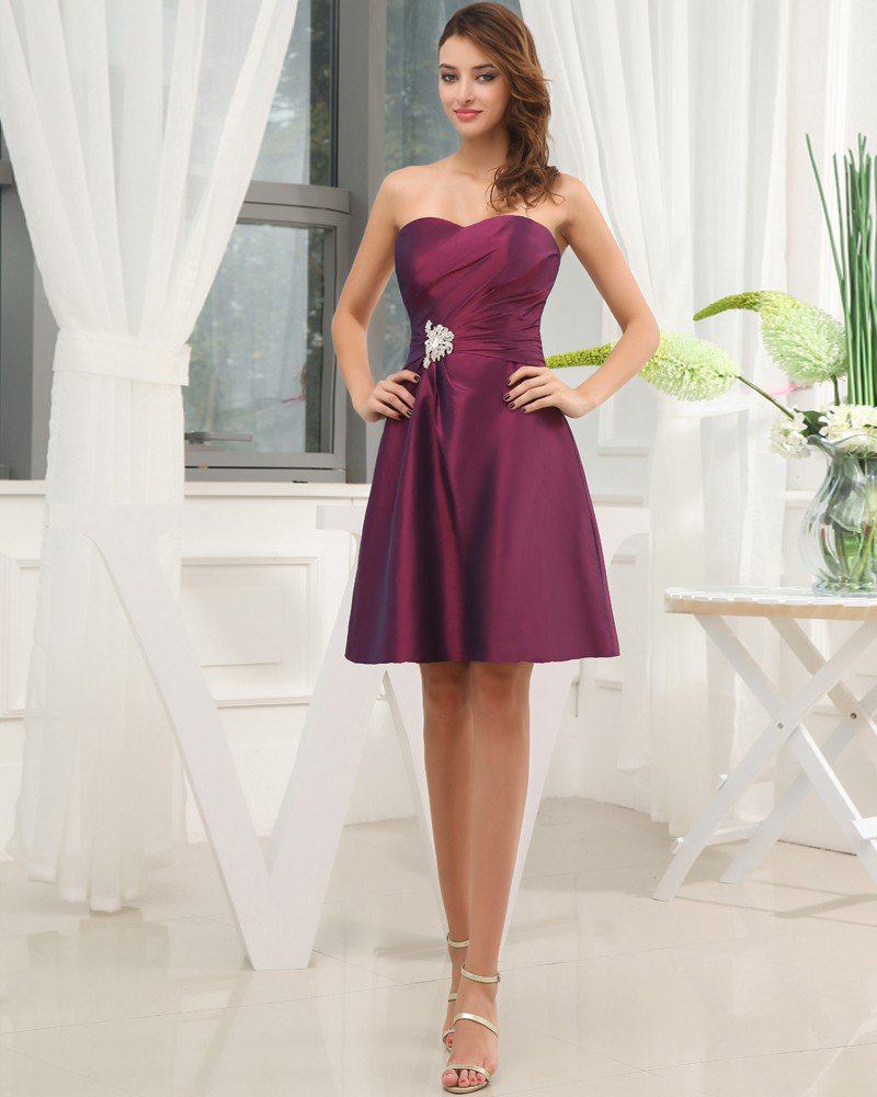 Taffeta Ruffle Beading Sweetheart Knee Length Bridesmaid Dress
