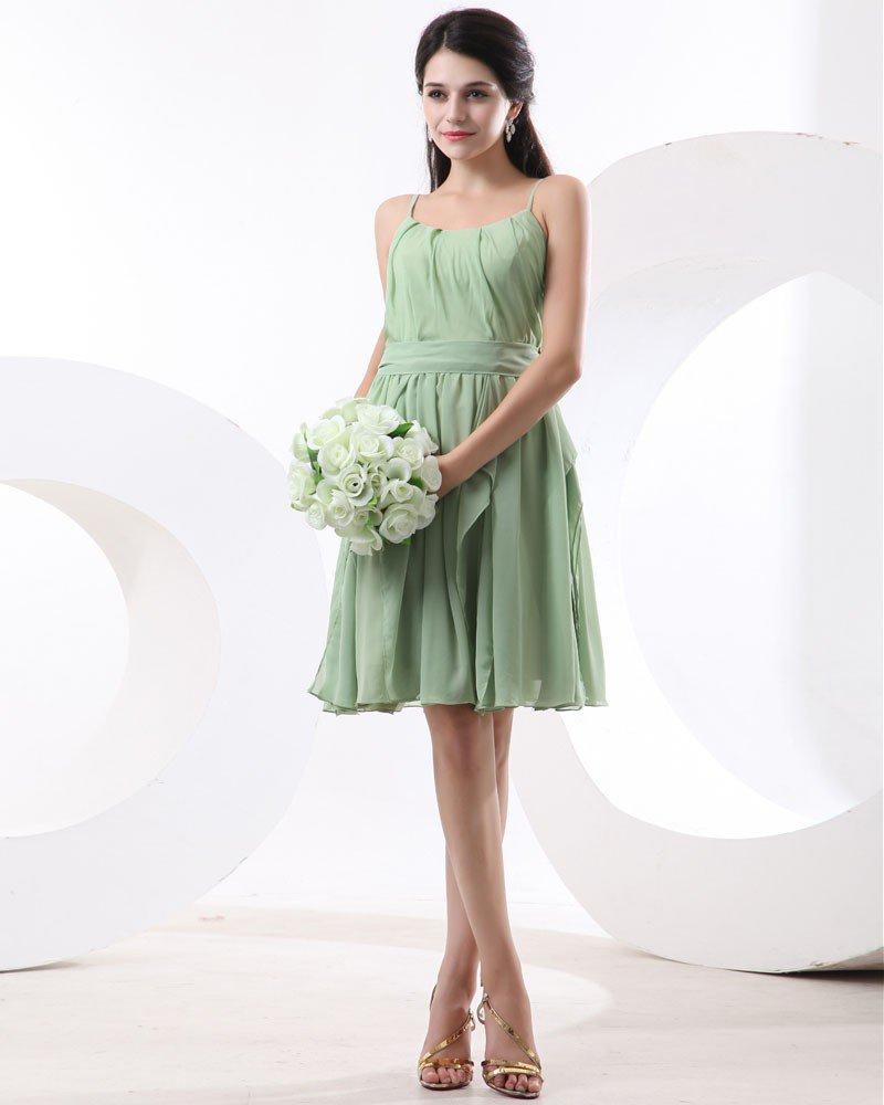 Chiffon Knee Length Solid Round Neck Bridesmaid Dress