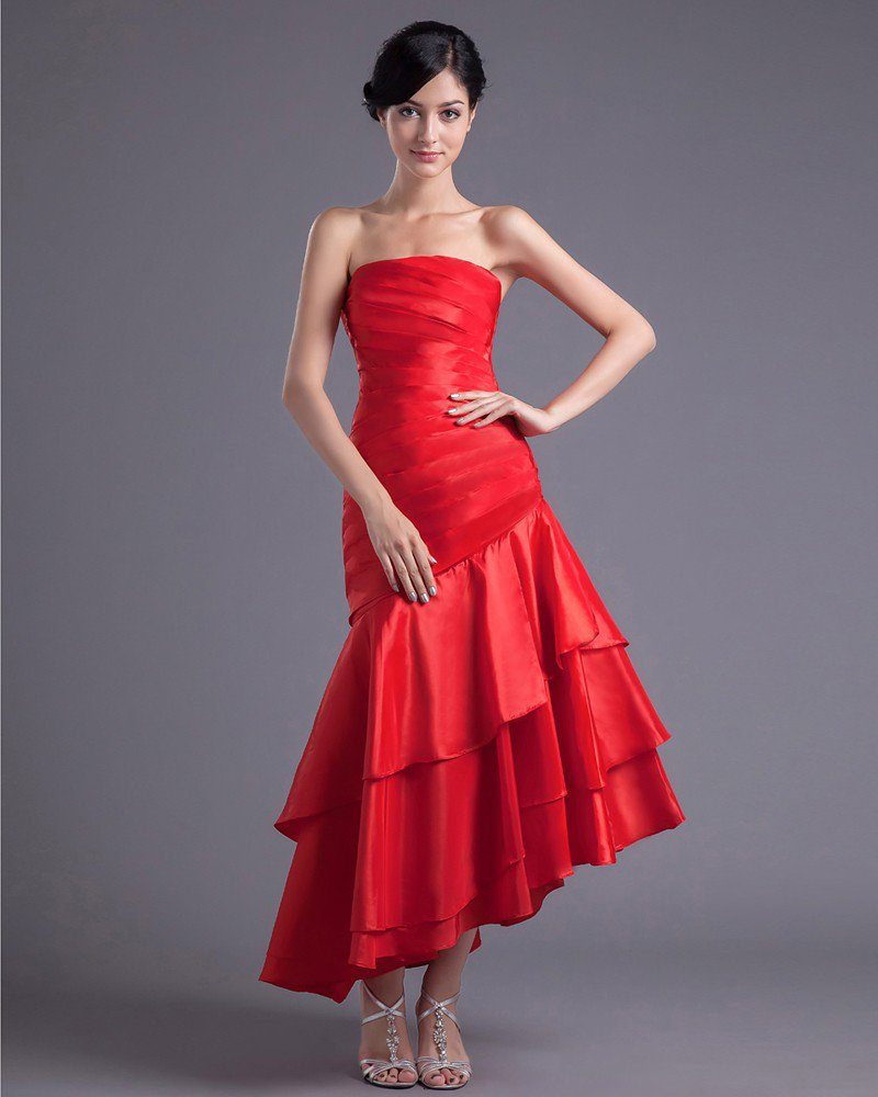 Fashion Charmeuse Pleated Strapless Asymmetrical Tea Length Bridesmaid Dress