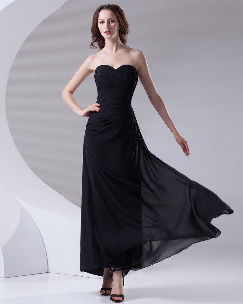 Fashion Sweetheart Neckline Ankle Length Ruffle Chiffon Bridesmaid Dress