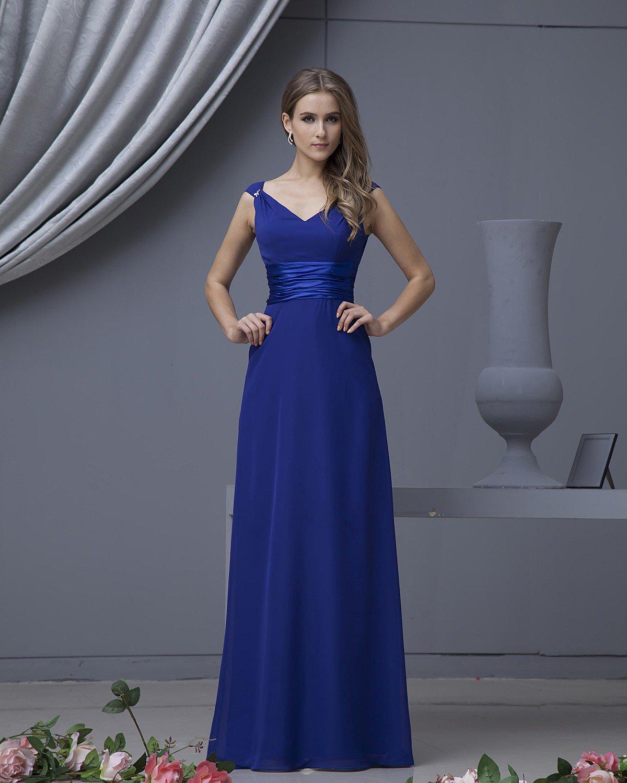 Designer Chiffon V Neck Floor Length Bridesmaid Dresses
