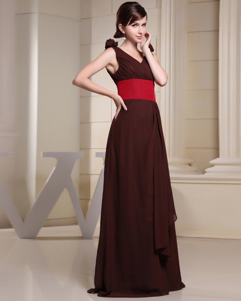 Chiffon Charmeuse Silk Pleated V Neck Sleeveless Floor Length Bridesmaid Dress
