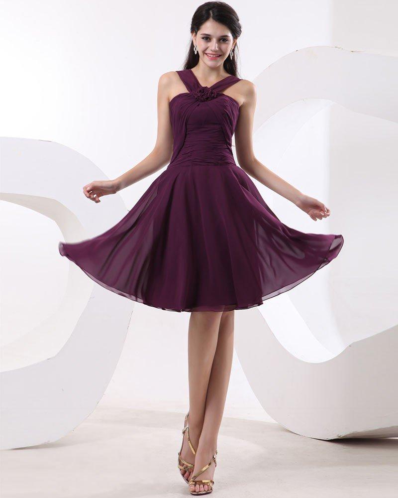 Handmade Flower Jewel Chiffon Ruffle Knee Length Bridesmaid Dresses