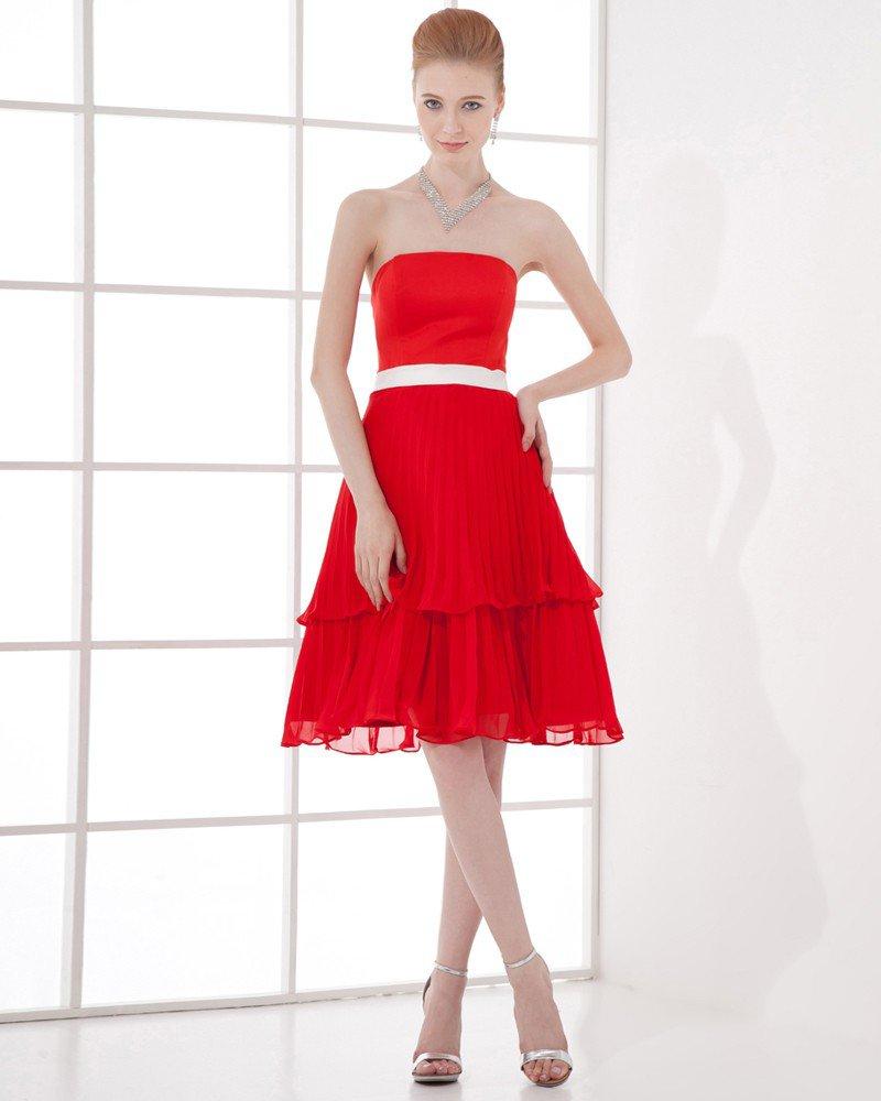 Fashion Strapless Knee Length Chiffon Pleated Bridesmaid Dress