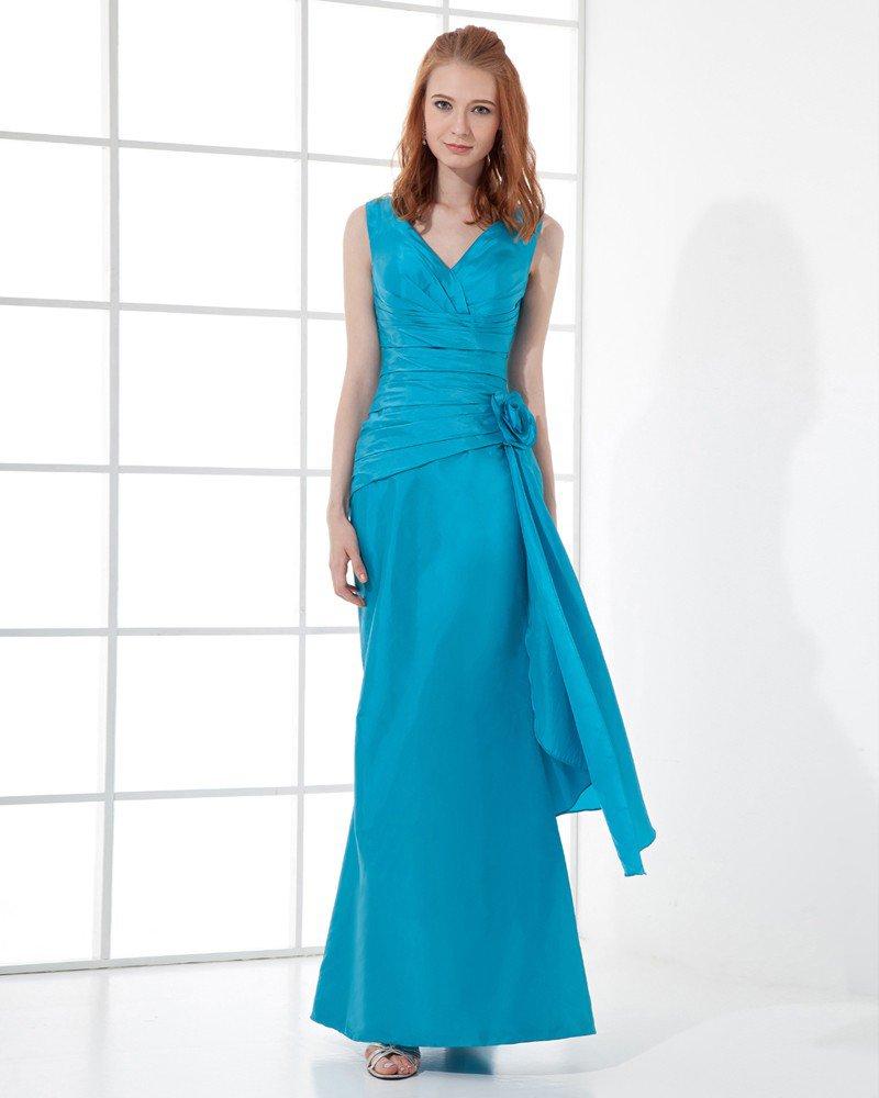 Fashion Taffeta Pleated Flower V Neck Floor Length Bridesmaid Dress