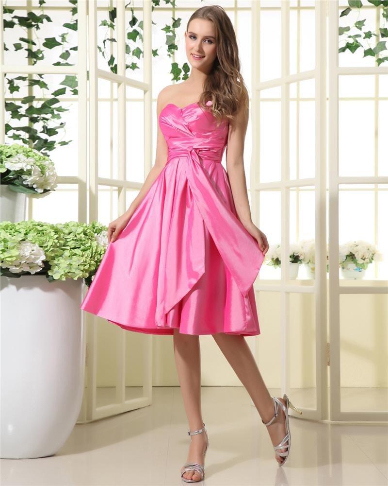 Taffeta Ruffle Sweetheart Tea Length Bridesmaid Dresses