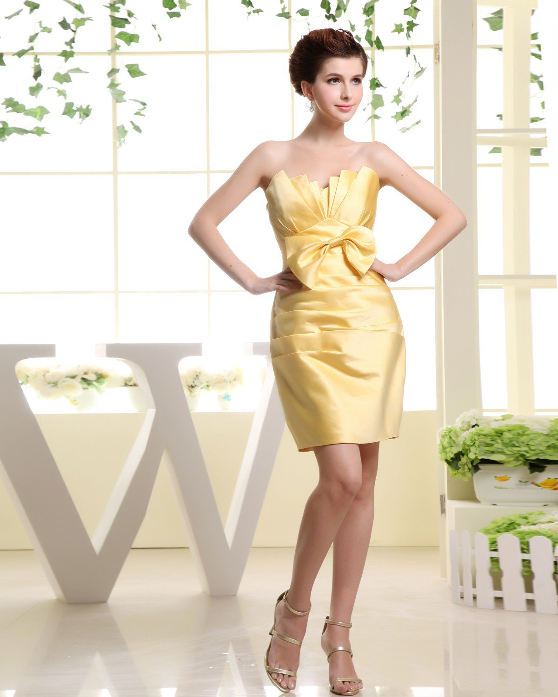 Strapless Zipper Sleeveless Bowknot Ruffle Mini Length Silk Charmeuse Woman Bridesmaid Dresses