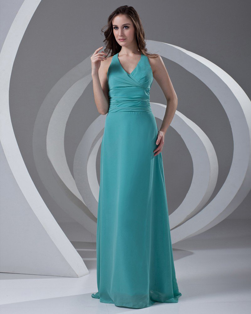 Halter Pleated Floor Length Chiffon Woman Bridesmaid Dress
